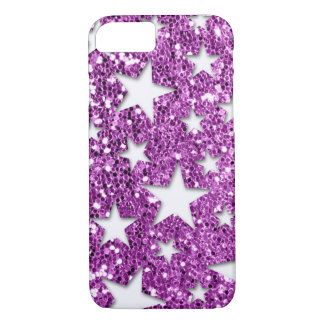 White Stars on Pink Glitter look iPhone 7 Case
