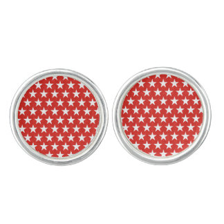 White stars on red background cufflinks