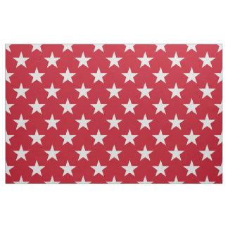 White Stars on Red Background Fabric