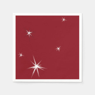 White Stars on Red. Modern Party Paper Napkin