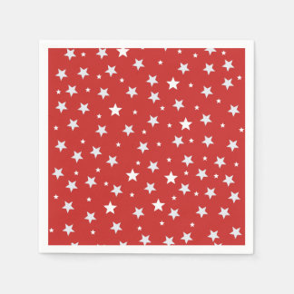White Stars on Red Paper Napkins