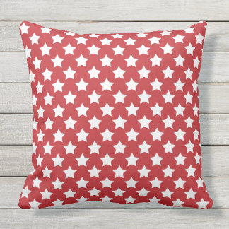 White Stars on Red Patriotic USA Outdoor Pillow