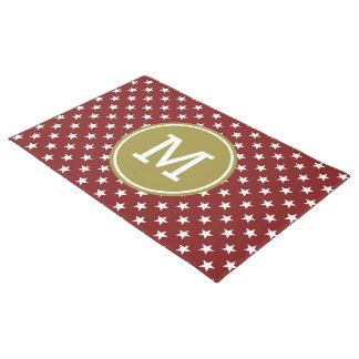 White Stars on Red with Olive Green Monogram Doormat
