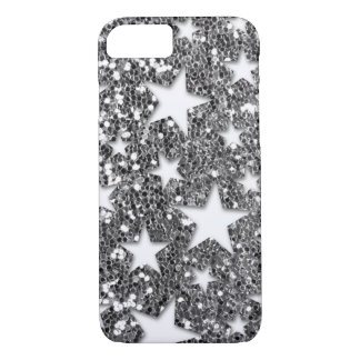 White Stars on Silver Glitter Look iPhone 8/7 Case