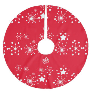 White Stars Over Red Background Brushed Polyester Tree Skirt