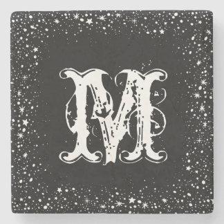 White Stars & Sparkles Frame Black Background Stone Coaster