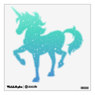 White Stars w/ Turquoise Aqua Blue Gradient Ombre Wall Decal