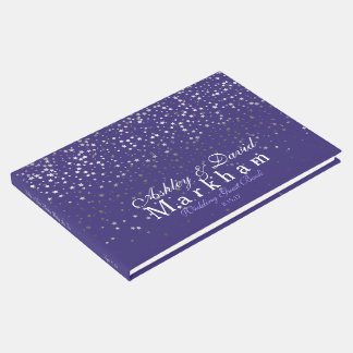 White Stars Wedding Guest Book-Purple Guest Book
