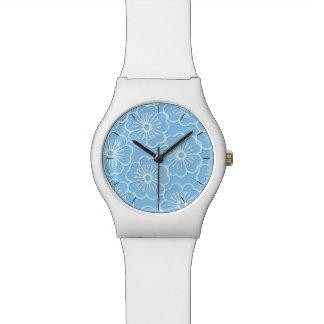 White stencil hibiscus floral watch