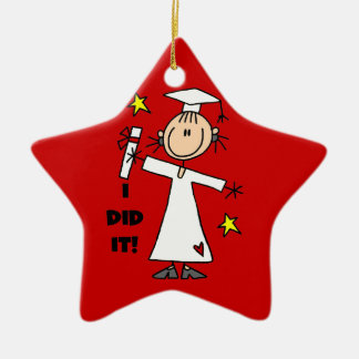 White Stick Figure Girl Graduate on Red Ceramic Ornament