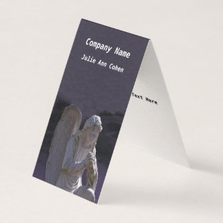 White Stone Christian Praying Angel Statue Purple Business Card
