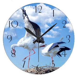 White storks large clock