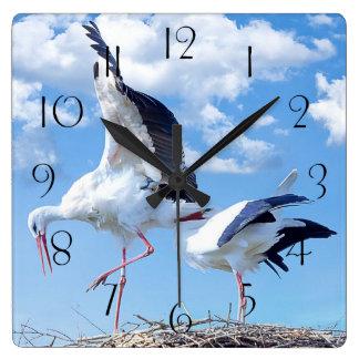White storks square wall clock