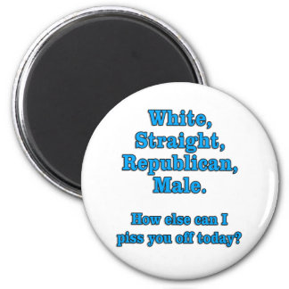 White Straight Republican Male Tee 2 Inch Round Magnet