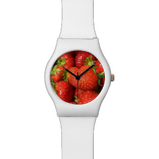 white strawberry photography printed face watch. watch