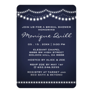 White String Light Dark Blue Bridal Wedding Shower Card
