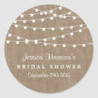 White String Lights On Rustic Burlap Bridal Shower Classic Round Sticker