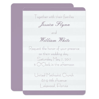White Stripe Wedding Invite