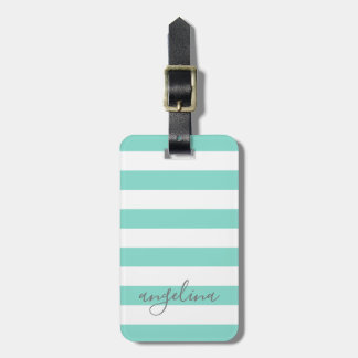 White Striped Pattern Custom Name - CAN edit COLOR Luggage Tag