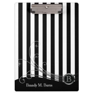 White Stripes and Black Swirls Clipboard