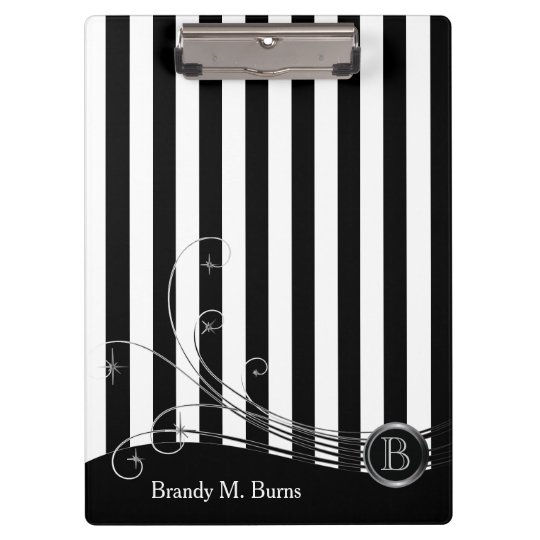 White Stripes and Black Swirls Clipboards