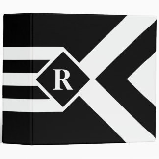 White Stripes and Chevrons on Black with Monogram 3 Ring Binders