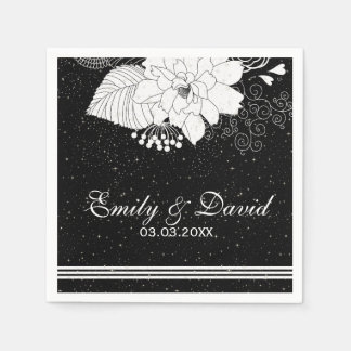 White Stripes And Flowers- Save The Date Disposable Napkins