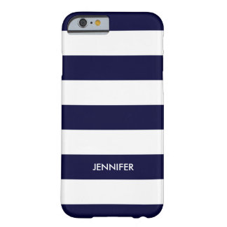 White Stripes Custom Blue Background Barely There iPhone 6 Case