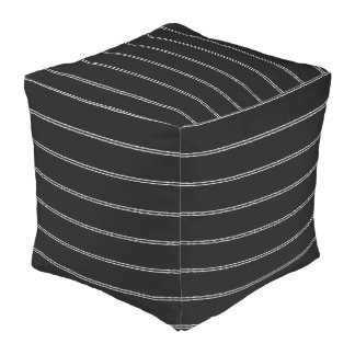 White Stripes Decorative Designer Cube Pillows