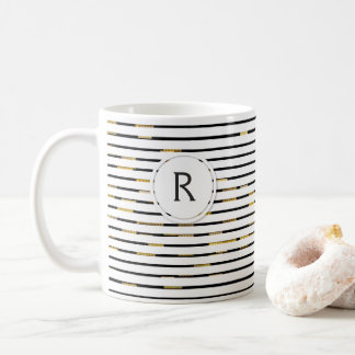 "White Stripes ""faux 3D"" Monogram | Mug"