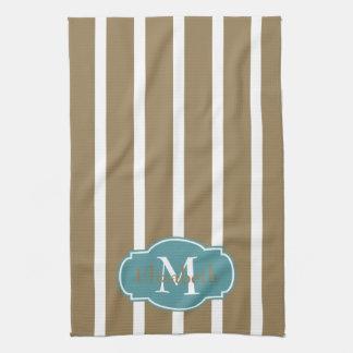 White Stripes on Khaki Monogram Kitchen Towel