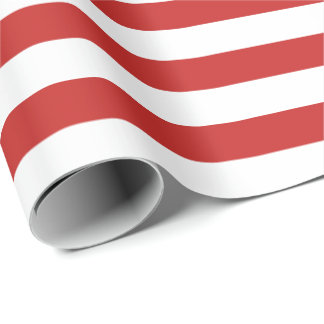 White Stripes with Red Background   DIY Color Wrapping Paper