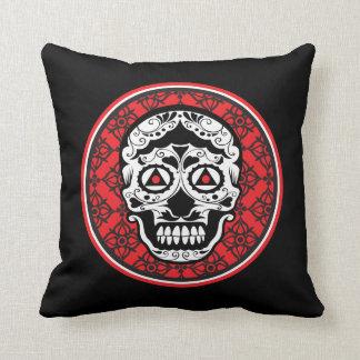 White style sugar skull on red black damask throw pillow
