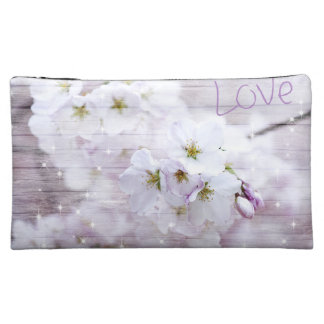 White Stylish Cherry Blossom Cosmetic Bag