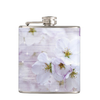 White Stylish Cherry Blossom Flask