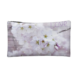 White Stylish Cherry Blossom Makeup Bags