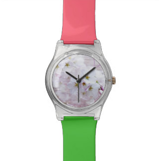 White Stylish Cherry Blossom Wrist Watch