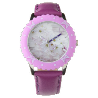 White Stylish Cherry Blossom Wristwatch