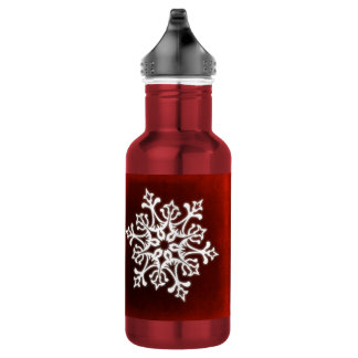 White Stylish Snowflake on Dark Red 532 Ml Water Bottle