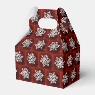 White Stylish Snowflake on Dark Red Favor Box