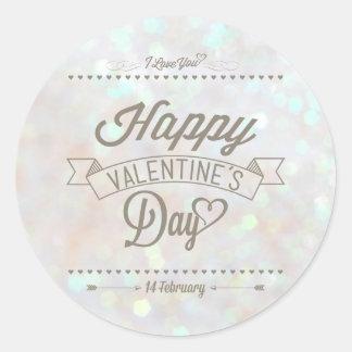 White Subtle Glitter Bokeh Valentine's Day Sticker