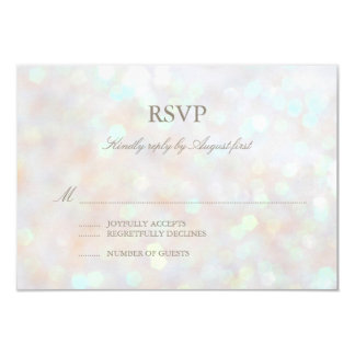 "White Subtle Glitter Bokeh Wedding RSVP Card 3.5"" X 5"" Invitation Card"