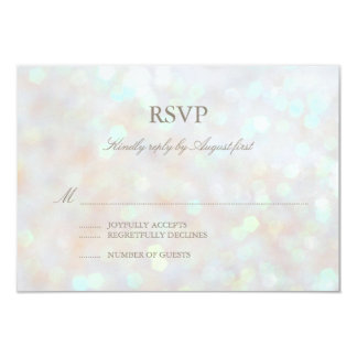 White Subtle Glitter Bokeh Wedding RSVP Card Personalized Announcements