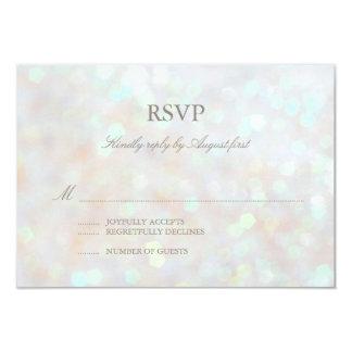 White Subtle Glitter Bokeh Wedding RSVP Card Personalized Announcements