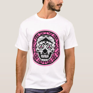 White Sugar skull style on black and Hot Pink  dam T-Shirt