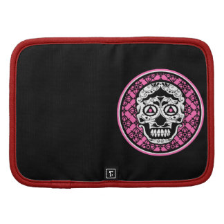 White Sugar skull style on black and hot pink dama Organizer