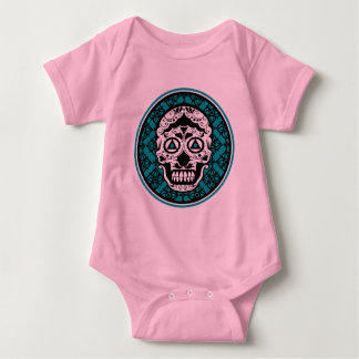 White Sugar skull style on black and Teal damask p Baby Bodysuit