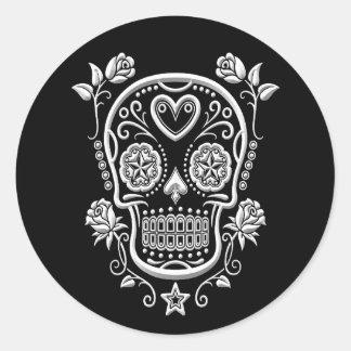 White Sugar Skull with Roses on Black Round Sticker