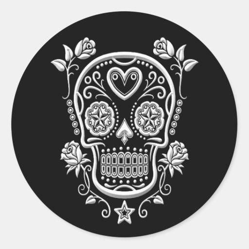 White Sugar Skull with Roses on Black Sticker