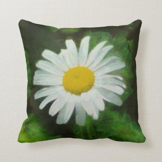 White Summer Daisy Throw Pillow